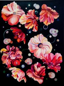 """Pamela Atkinson, Floating, acrylic painting on canvas, 40"""" x 30"""", ©2018 Yellow, pink, coral and red flowers floating in space."""