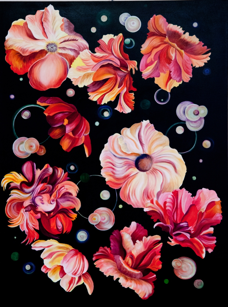 "Floating, acrylic painting on canvas, 30"" x 40"", ©2017 Yellow, pink, coral and red flowers floating in space."