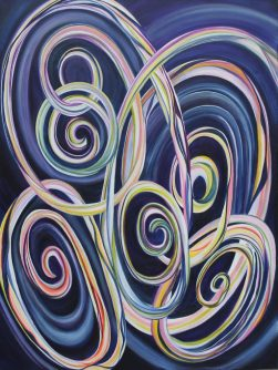 Pamela Atkinson, Acrylic Painting on Canvas, 40″ x 30″, ©2018, Pamela Atkinson, pamealatkinson.net, pamelaatkinsonart.com, Pam Atkinson, Flowers, Energy, Beauty,