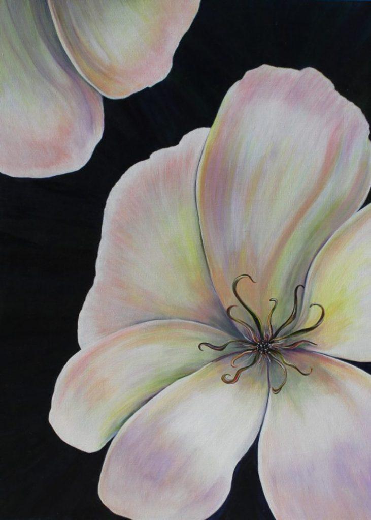 "Pamela Atkinson, ""Reaching"", Acrylic Painting on Canvas, 30″ x 40"", ©2016"