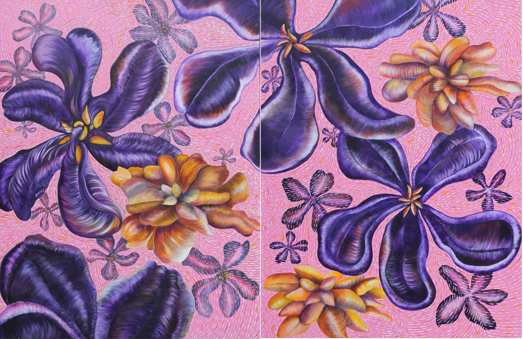 "Pamela Atkinson, Wild Flowers, Diptych, Acrylic Painting on Canvas, 40"" x 80"", ©2018"