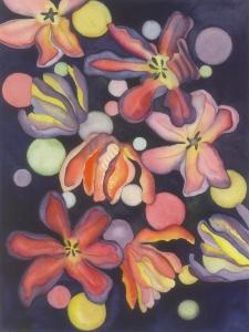 Watercolor, Tulip Moon #3,©2018, Pamela Atkinson, Pam Atkinson, pamelaatkinson.net, painting, Energy, Flowers, Beauty, Visual Arts, Southern CA