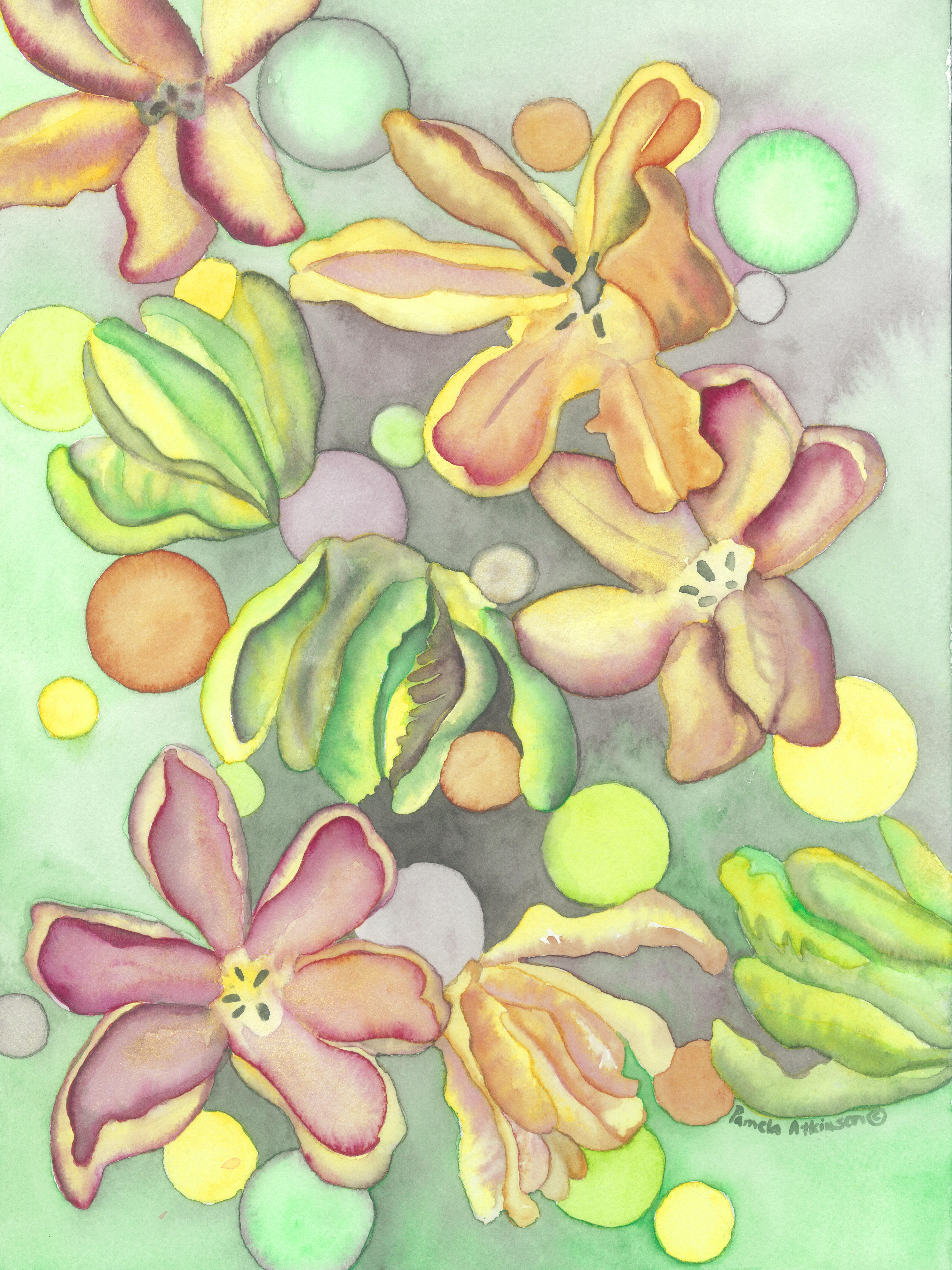 Watercolor, Tulip Moon #1, ©2018, Pamela Atkinson, Pam Atkinson, pamelaatkinson.net, painting, Energy, Flowers, Beauty, Visual Arts, Southern CA