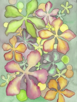 Watercolor, Moon Moss #1, ©2018, Pamela Atkinson, Pam Atkinson, pamelaatkinson.net, painting, Energy, Flowers, Beauty, Visual Arts, Southern CA
