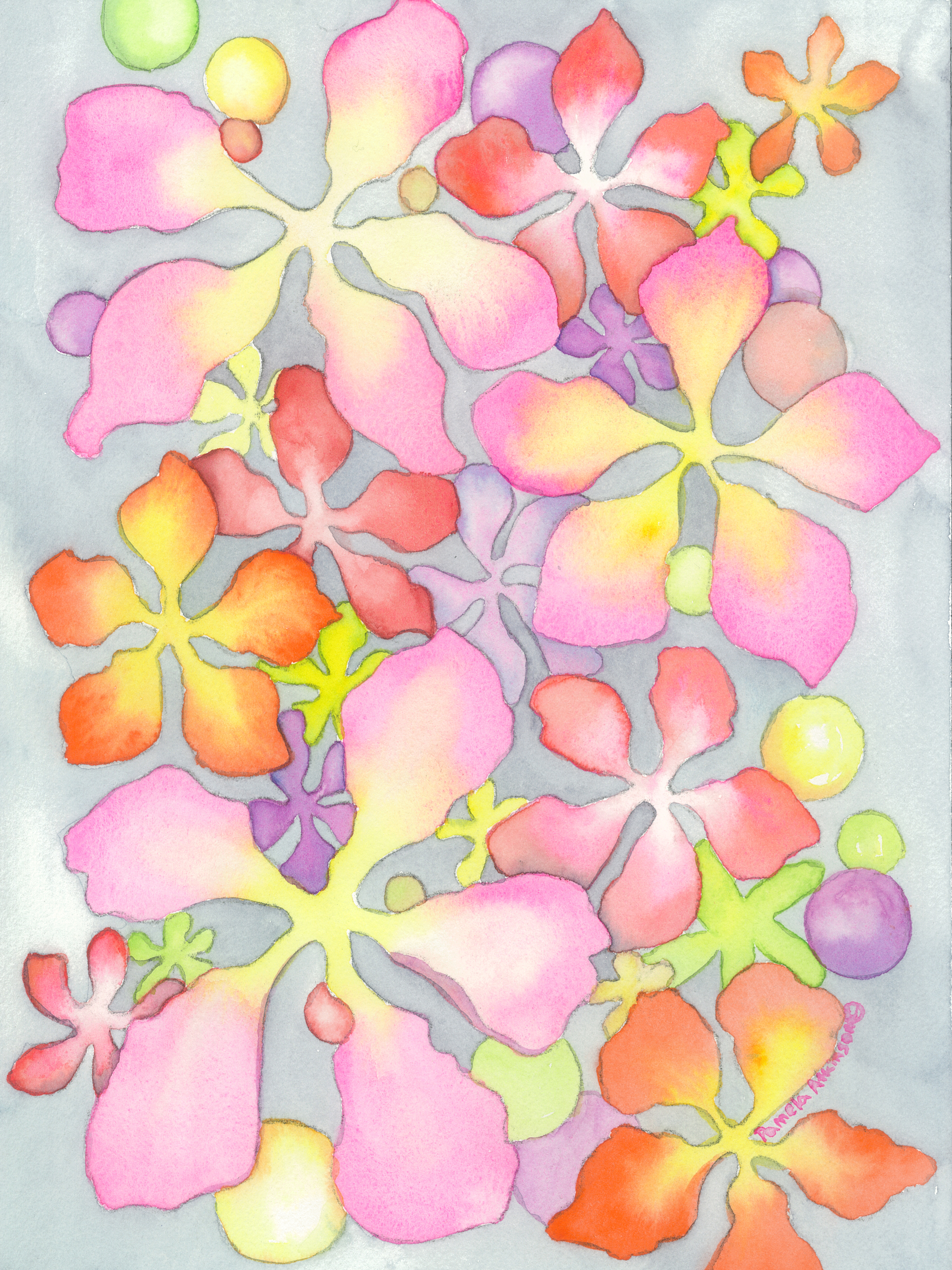Watercolor, Moon Moss #4,©2018, Pamela Atkinson, Pam Atkinson, pamelaatkinson.net, painting, Energy, Flowers, Beauty, Visual Arts, Southern CA