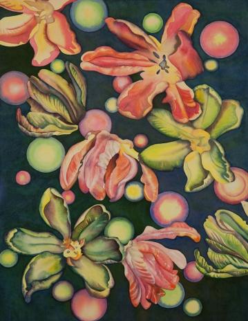 """Pamela Atkinson, """"Tulip Moon"""", Watercolor, 30″x 22″, ©2018"""