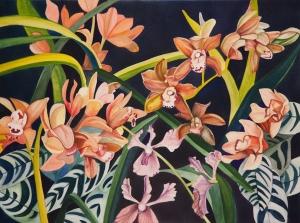 "Pamela Atkinson, ""Orchids II,"" Watercolor, 22"" x 30"", ©2018"