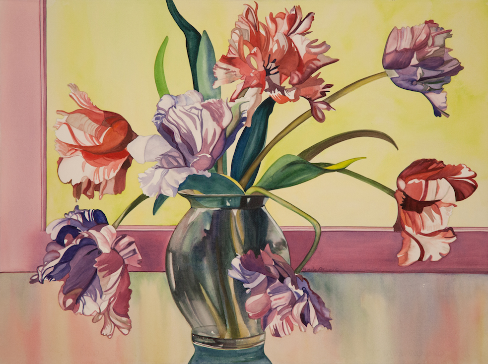 "Pamela Atkinson, ""Parrot Tulips II,"" Watercolor, 22"" x 30"", ©2018"