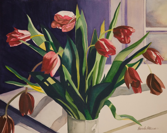 "Pamela Atkinson, ""Tulips II,"" Watercolor, 22"" x 30"", ©2018"