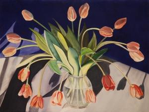 """Pamela Atkinson, """"Tulips in Shadow,"""" Watercolor, 22"""" x 30"""", ©2018"""