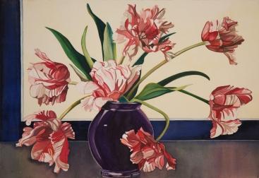 "Pamela Atkinson, ""Parrot Tulips"", Watercolor, 22″x 30″, ©2018"