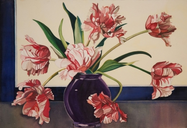 "Pamela Atkinson, ""Parrot Tulips"", Watercolor, 22″x 30″, ©2018"