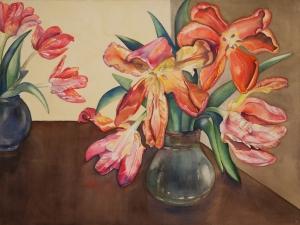 "Pamela Atkinson, ""Tulips XX"", Watercolor, 22″x 30″, ©2018"