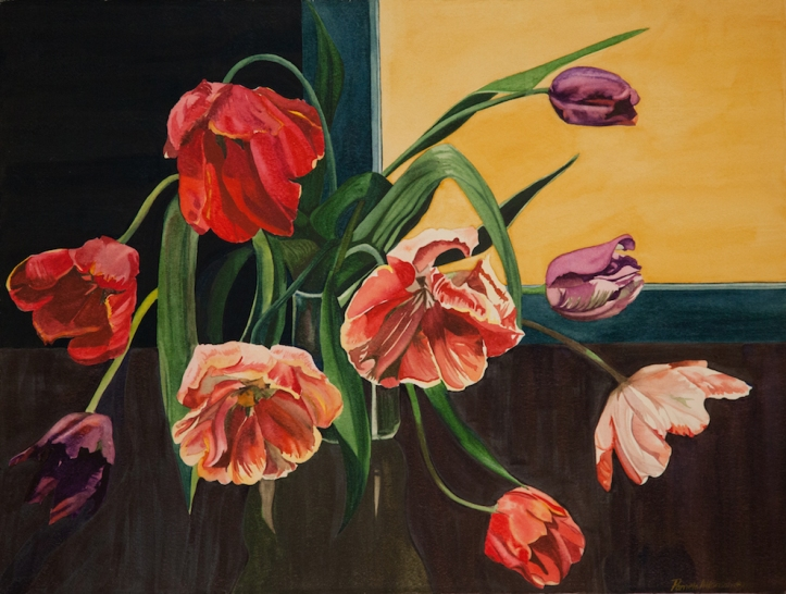 "Pamela Atkinson, ""Tulips XI,"" Watercolor, 22"" x 30"", ©2018"