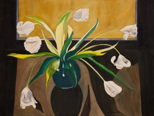 "Pamela Atkinson, ""White Tulips,"" Watercolor, 22"" x 30"", ©2018"