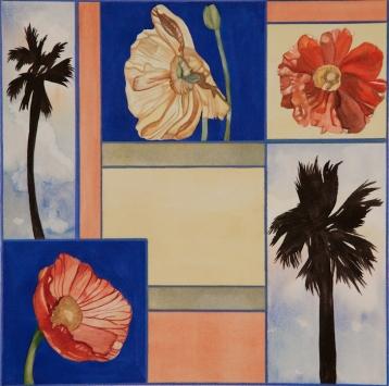 "Pamela Atkinson, ""Blossom, Palm, and Sky II,"" Watercolor, 22"" x 30"", ©2018"