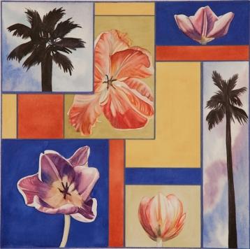 "Pamela Atkinson, ""Blossom, Palm, and Sky III,"" Watercolor, 22"" x 30"", ©2018"