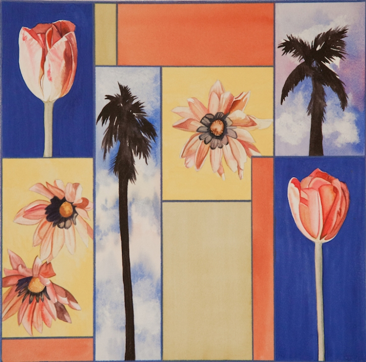 "Pamela Atkinson, ""Blossom, Palm, and Sky VI,"" Watercolor, 22"" x 30"", ©2018"