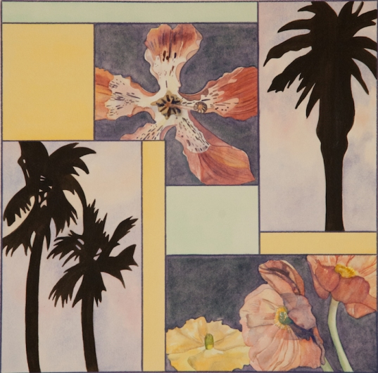 "Pamela Atkinson, ""Blossom, Palm, and Sky VII,"" Watercolor, 22"" x 30"", ©2018"