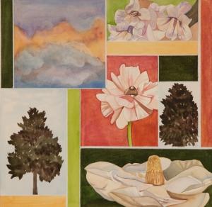 """Pamela Atkinson, """"Blossom, Magnolia, and Sky,"""" Watercolor, 22"""" x 30"""", ©2018"""