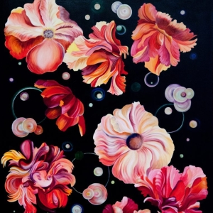 Pamela Atkinson, Painting, Acrylic, Floral, Bold, Bright, Colorful, Floating Flowers, Nature,