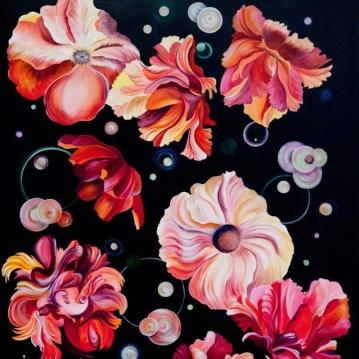 Pamela Atkinson, Floating, Acrylic Painting, 40″ x 30″, ©2018