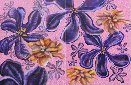 "Pamela Atkinson, Wild Flowers, Diptych, Acrylic Painting on Canvas, 30"" x 80"", ©2018"