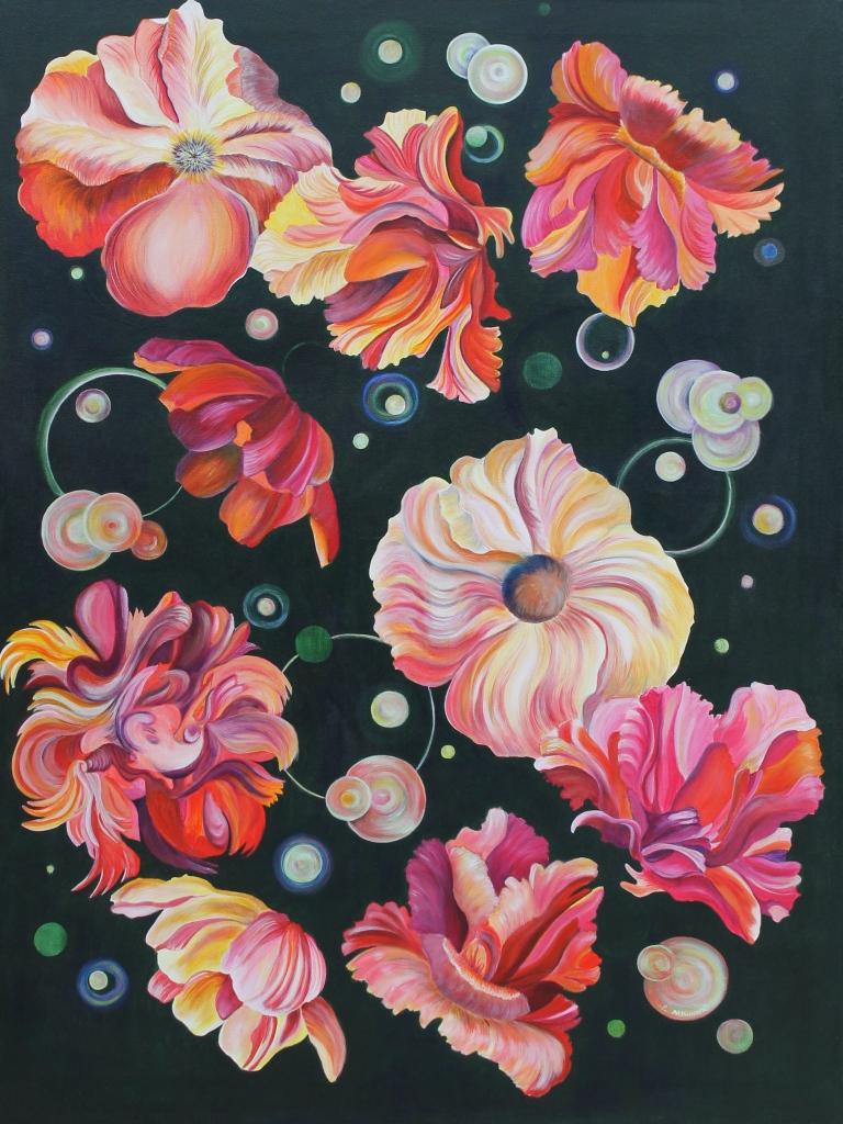 """Pamela Atkinson, """"Floating"""", Acrylic, 40"""" x 30"""", ©2018"""